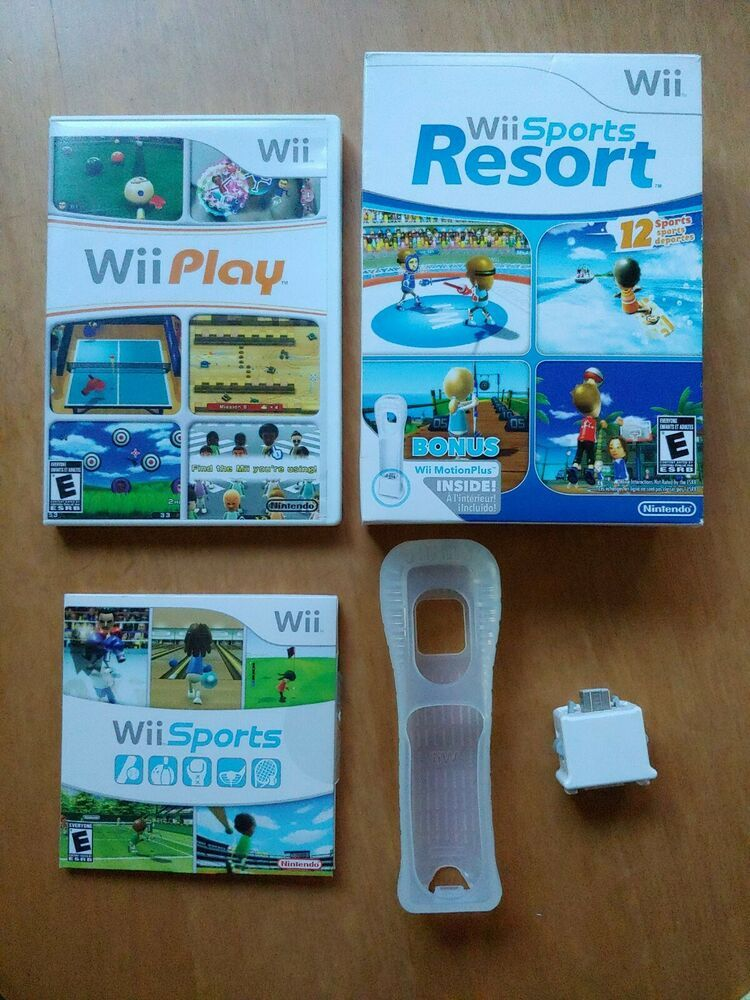 Wii Sports, Wii Sports Resort with Motion Plus, Wii Play