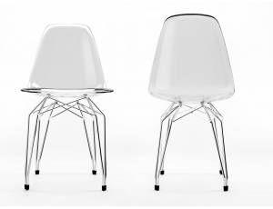 Diamond sedia scocca in policarbonato trasparente o bianca. base