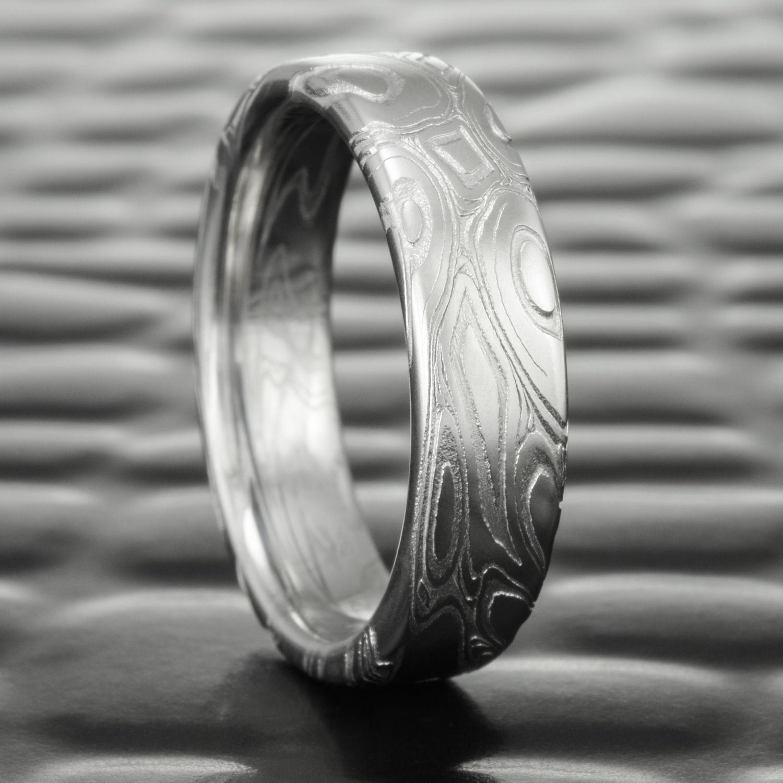 Damascus Steel Wedding Ring Flat Eddy Pools Steven Jacob Damascus Steel Wedding Band Damascus Wedding Band Steel Wedding Ring