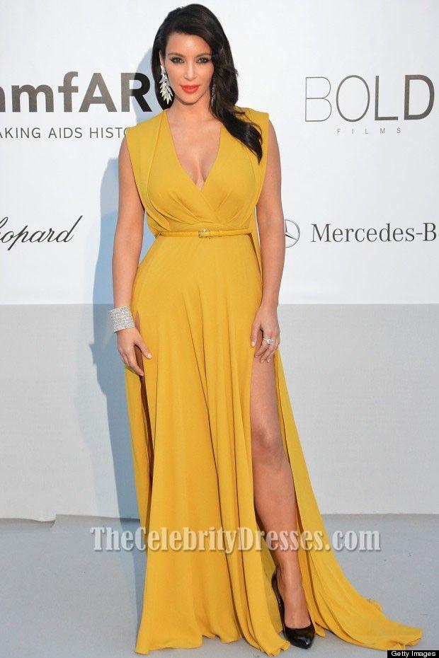 kim kardashian Yellow Prom Dress amfAR\'s Cinema Against Aids Gala ...