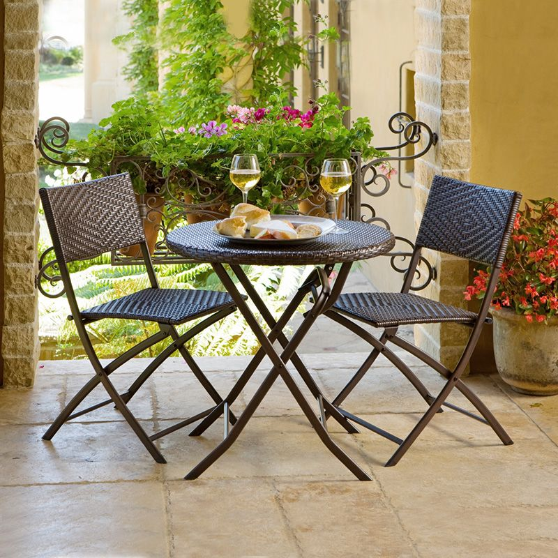 Rst Outdoor All Weather Woven Wicker Bistro Set Sets At Hayneedle