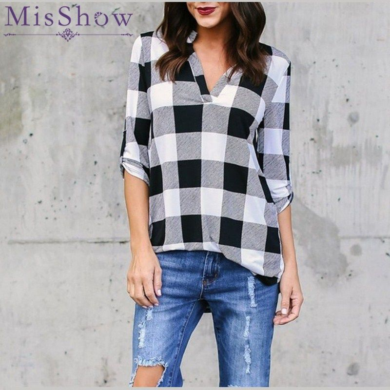 2 Color Fashion Women Casual Loose Tops Blouses Lattice Shirt Top Vintage Plaid Long Sleeve Shirts Blusas Mujer De Moda Low Price Women's Clothing