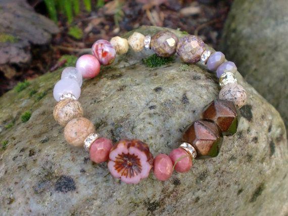 Pink Pansy Mix Bracelet Taholah Jasper Agate by HarborGirlDesigns