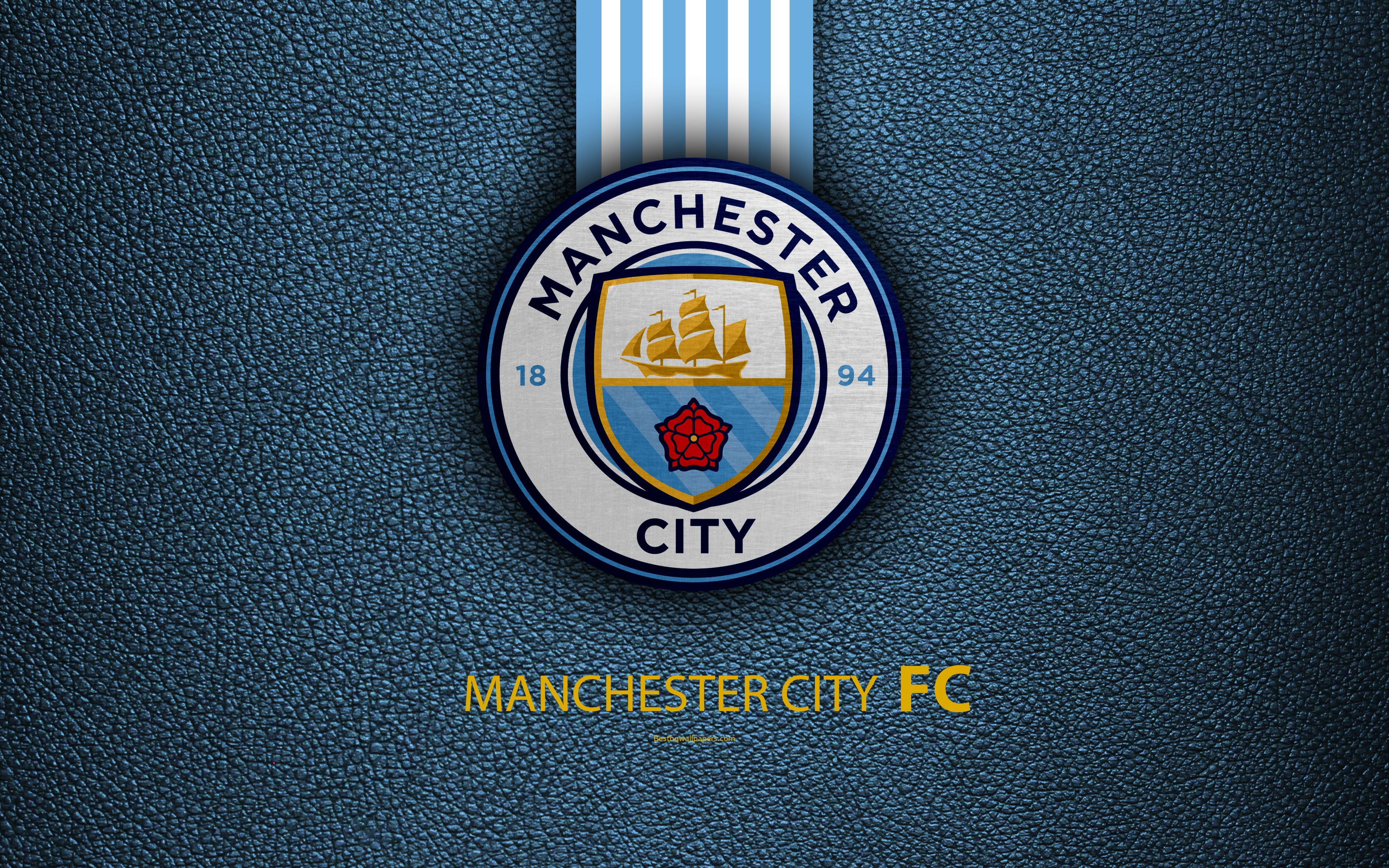 Manchester City FC, FC, 4K, English Football Club, Leather