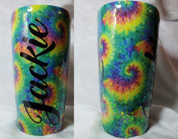 Psychedelic Pattern Turtle with Custom Name for 20oz or 30oz Insulated Cup