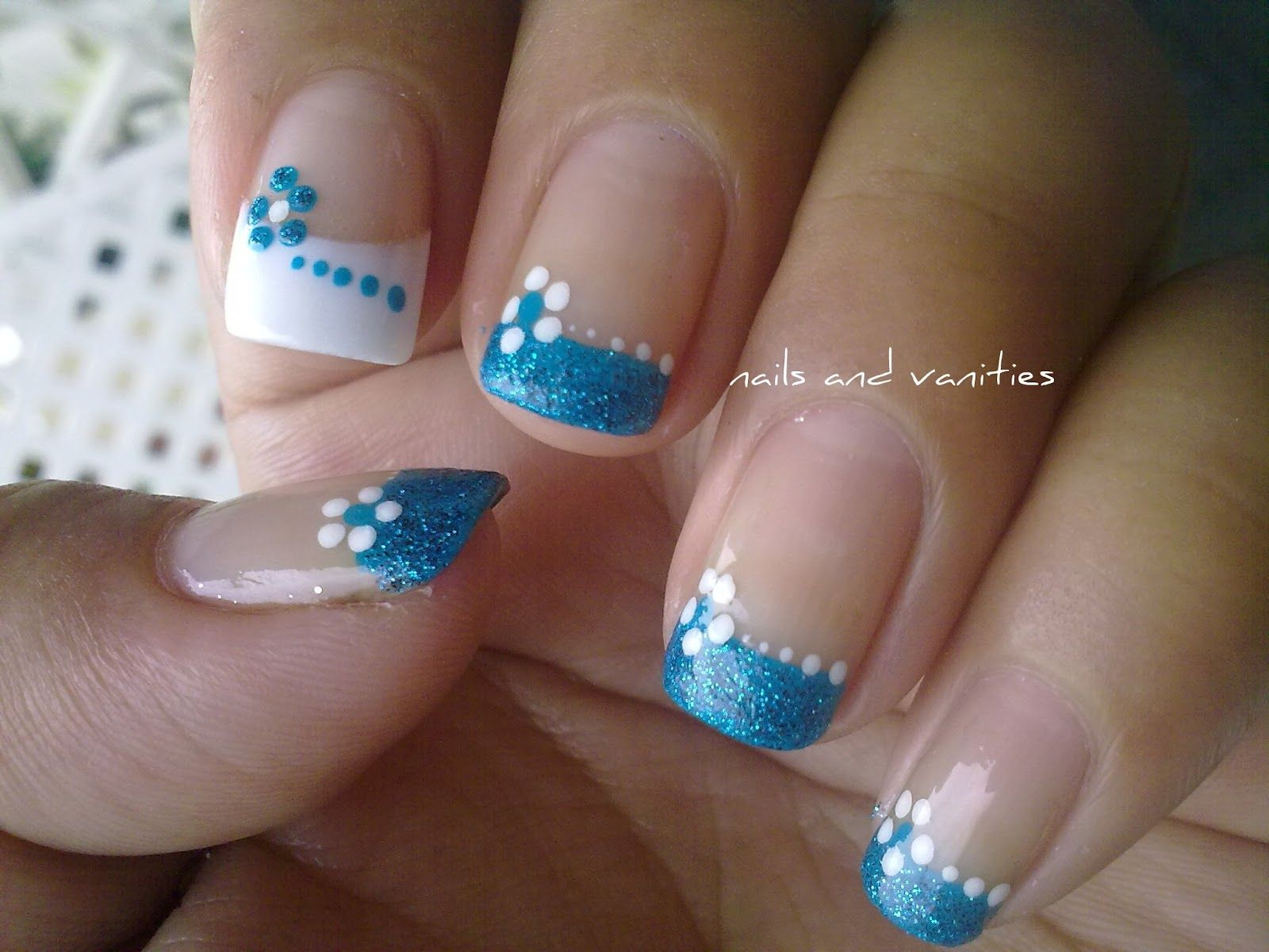 Colored french nail design - Blue Blowers White Dots French Tips