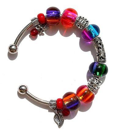 """Bracelet argenté en perles de verre bicolores et dépolies : """"Iridescence"""""""