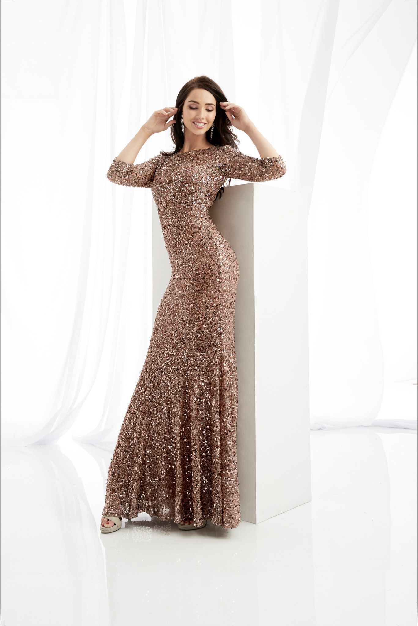 Jasz Couture 1363 Cinnamon Sleeved Open Back Prom Dress