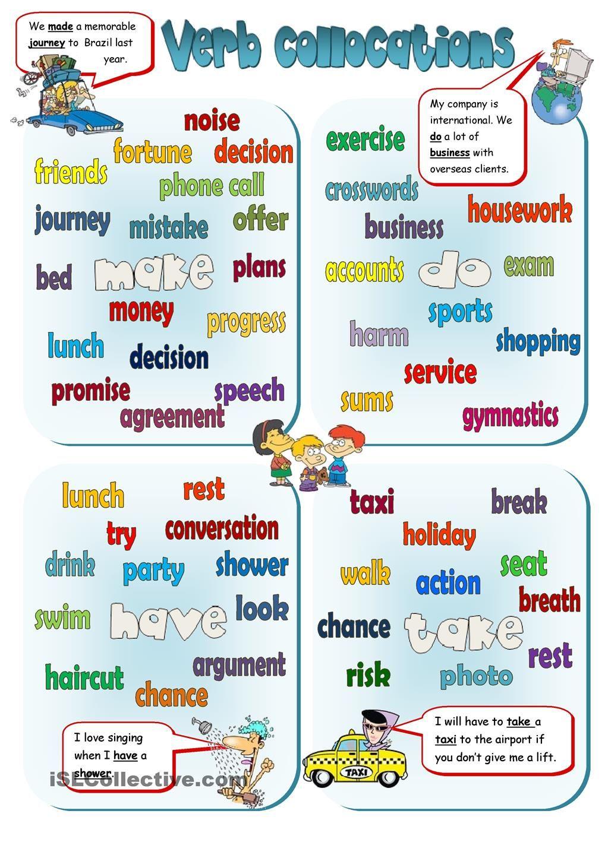 Workbooks pronunciation key worksheets : Collocations - MAKE, DO, HAVE, TAKE | FREE ESL worksheets | My ...