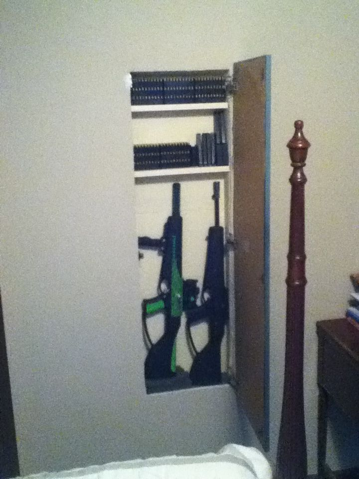 Hidden gun cabinet open diy hidden gun storage for Bedroom furniture gun safe