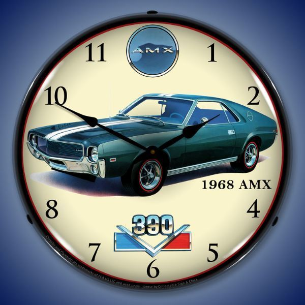 1968 Amx Lighted Wall Clock 14 X 14 Inches Wall Clock Light Clock Wall Clock