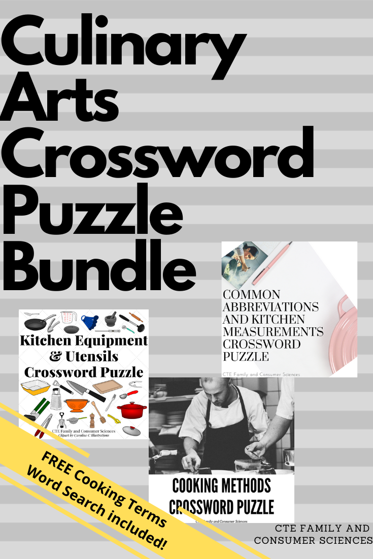 Culinary Arts Crossword Puzzle Bundle Family And Consumer
