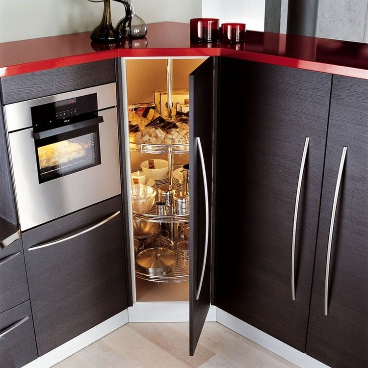Meuble d'angle cuisine moderne et rangements rotatifs en 35 photos | Petit stockage de cuisine ...