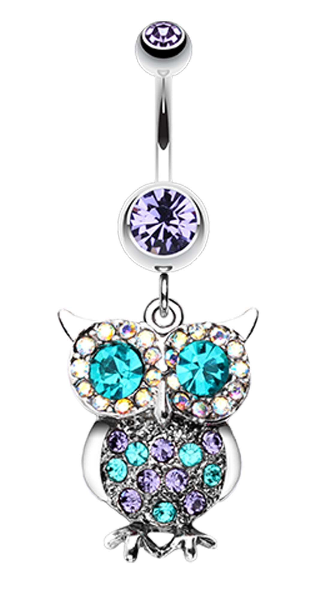 Double piercing belly  Jeweled Sparkling Owl Dangle Belly Button Ring  Belly button
