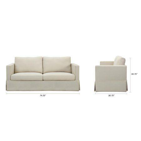 Better Homes And Gardens Russel Skirted Slipcover Sofa Beige For