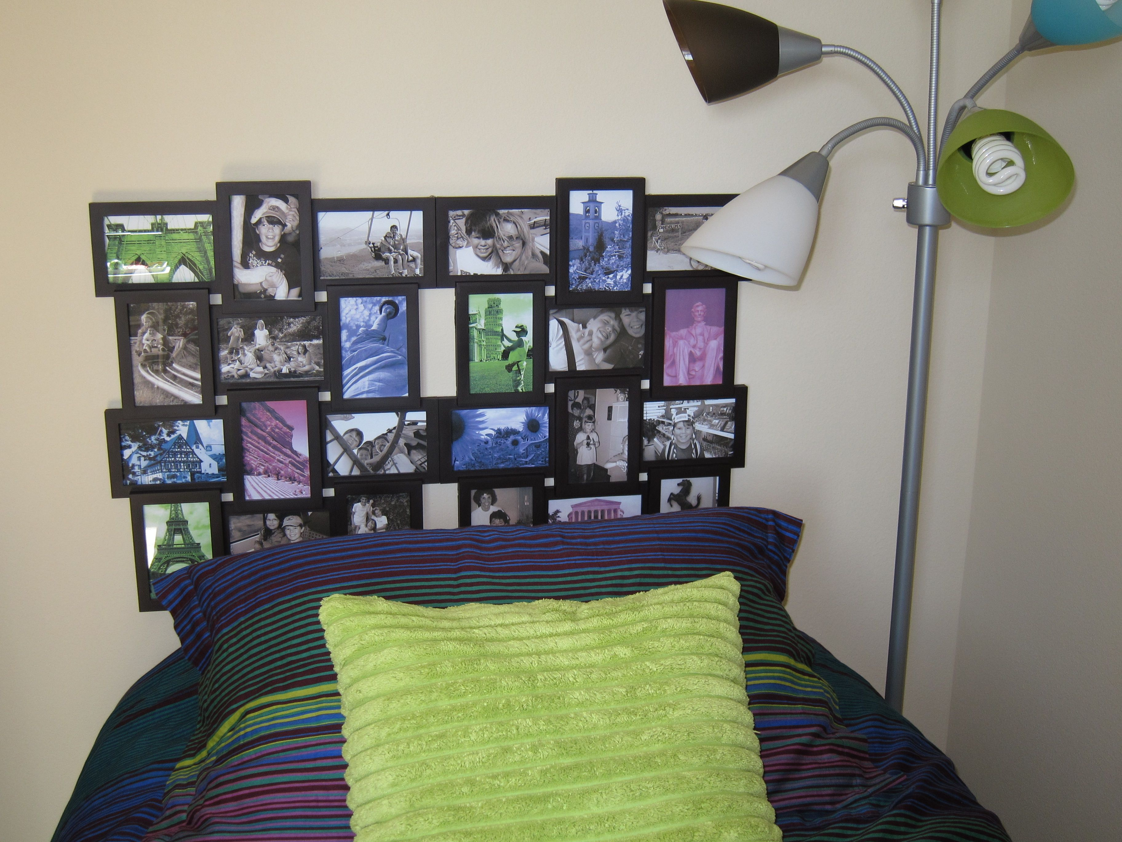 Frame headboard for my son's twin bed, I made him a