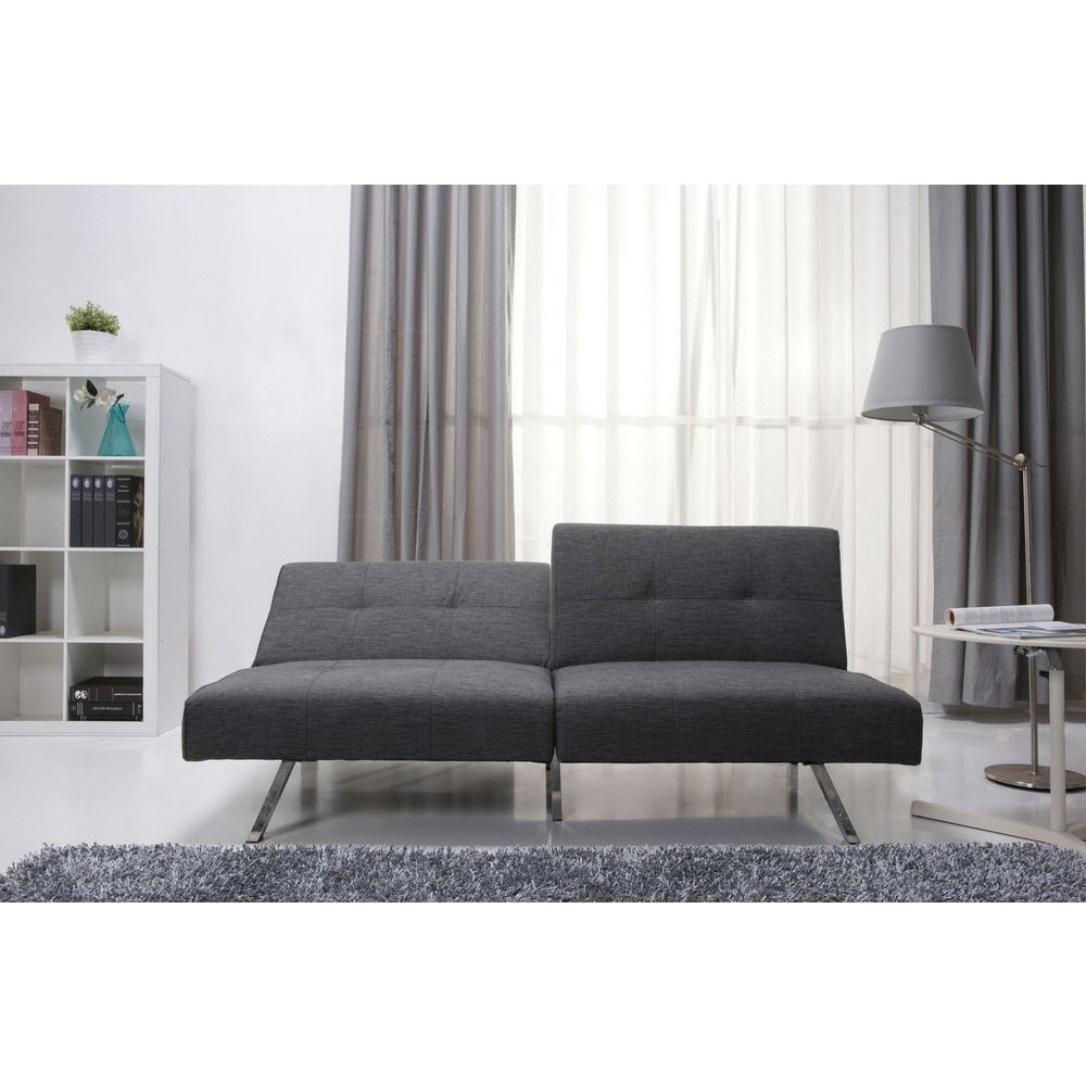Victorville Grey Foldable Futon Sofa Bed   Overstock.com Shopping   The  Best Deals On