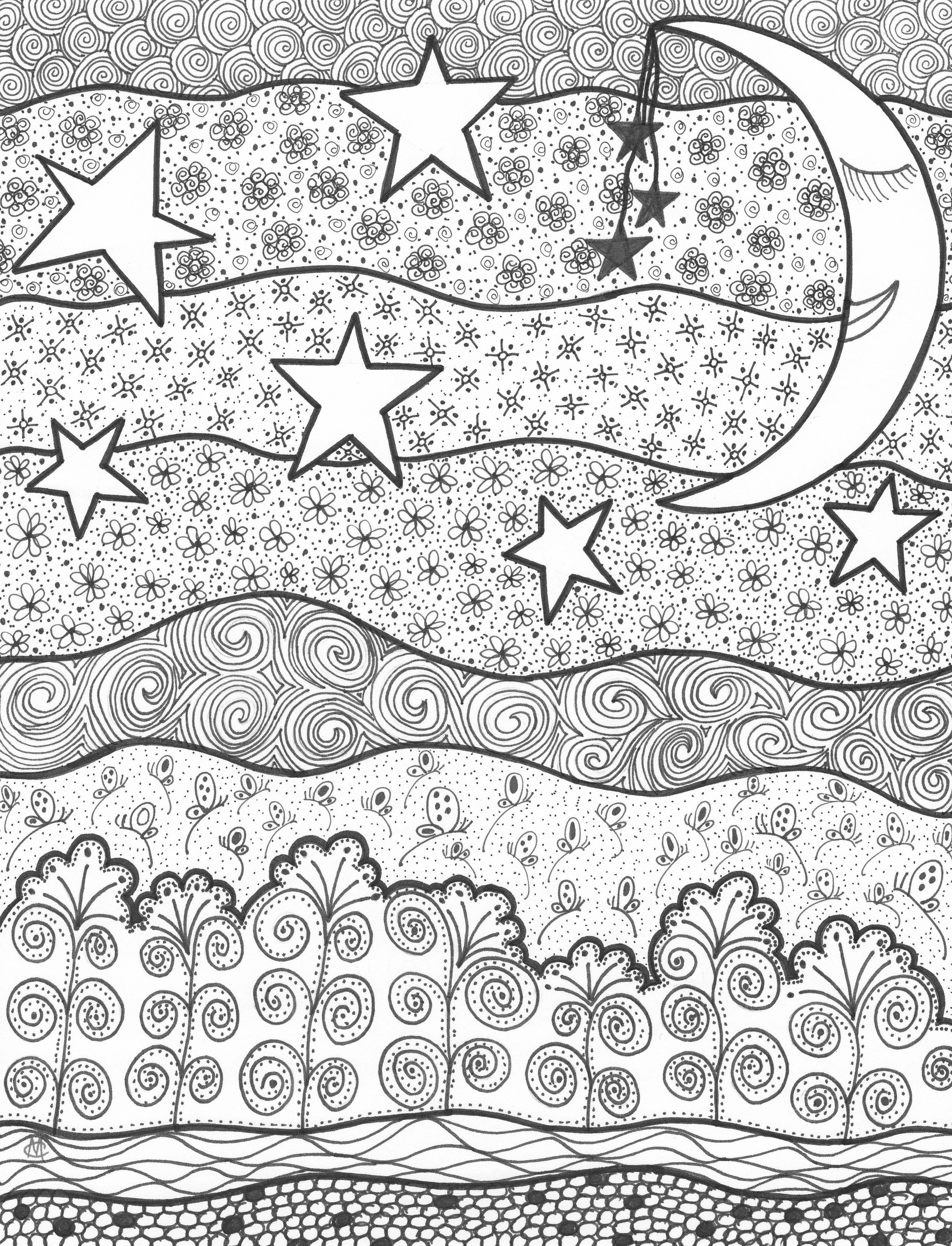 Starry Night Colouring Page