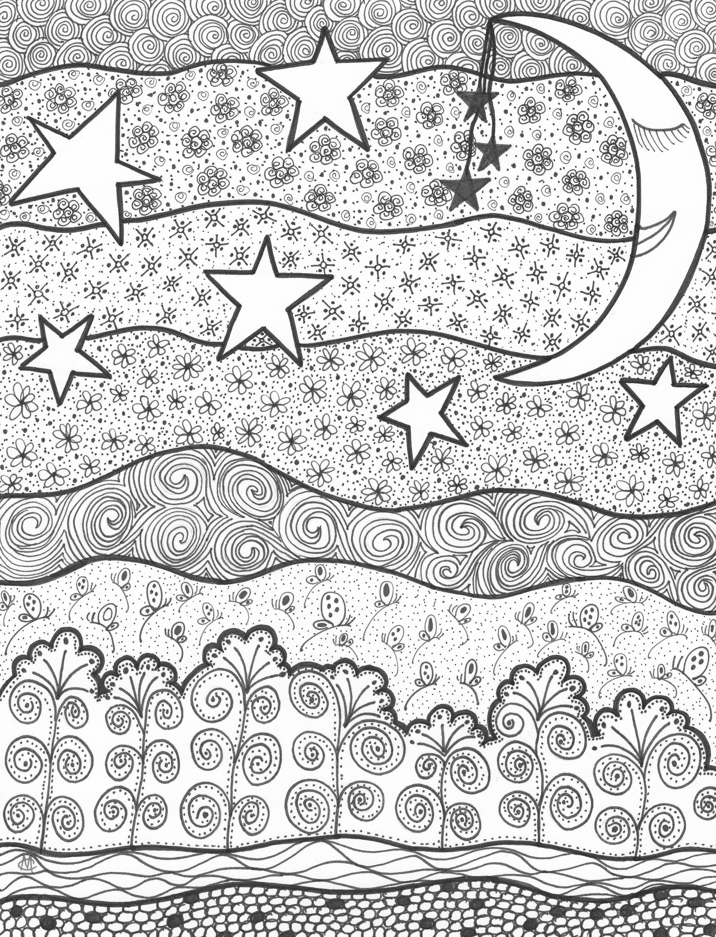 The moon u the stars an original artwork by cat magness bijzondere