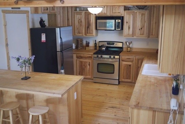 Hickory Cabinets And Butcher Block Counter Tops Countertops