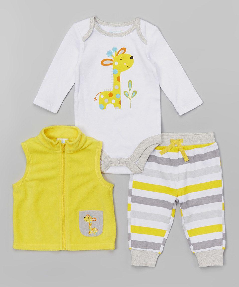 Yellow Giraffe Fleece Vest Set | Fleece vest, Fleece, Baby