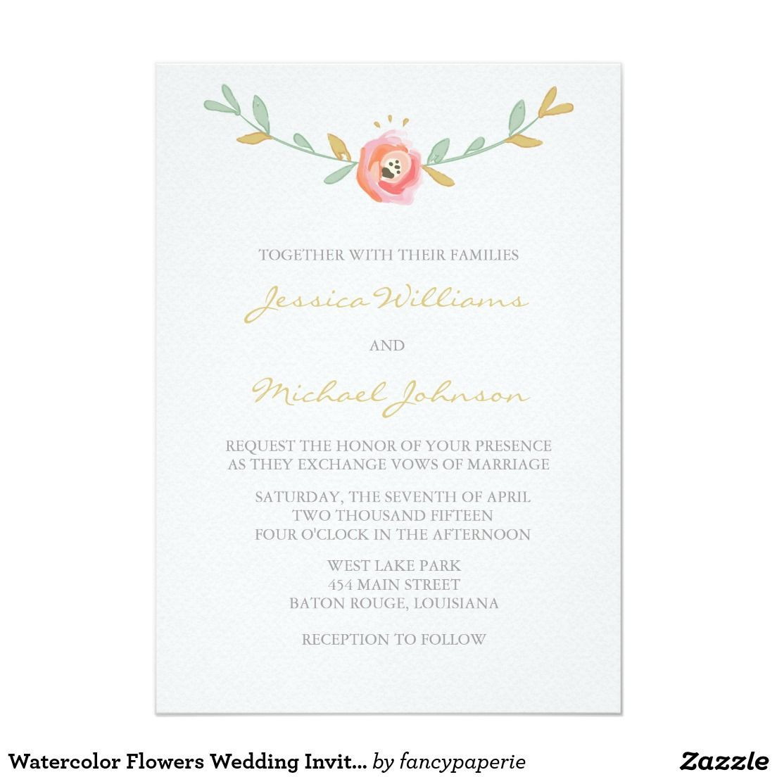 Watercolor Flowers Wedding Invitations 5 X 7 Invitation Card A