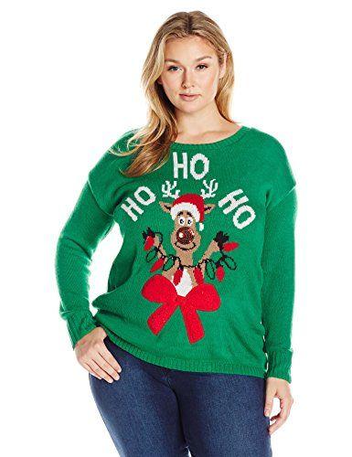 d2fca0ef943 Derek Heart Juniors Plus Size Light up Crew Neck Reindeer Christmas Sweater  Green Combo 3X     For more information