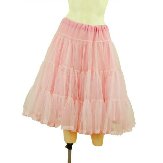Long Vintage Petticoat Cotton Candy Pink Crinoline by Strazor, $53.00