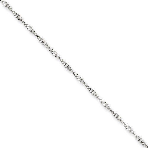 14k White Gold 1.7mm Polished Singapore Chain Necklace Bracelet Anklet 7-30