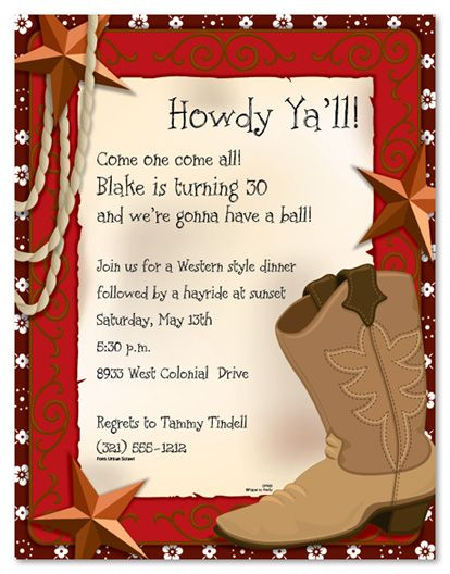 wild wild west boot party invitations