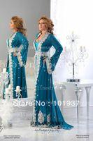 2014 New Blue Arabic Kaftan Runway Evening Dresses With Long Sleeves And Applique Chiffon Abaya Dubai Evening Gowns BO3370