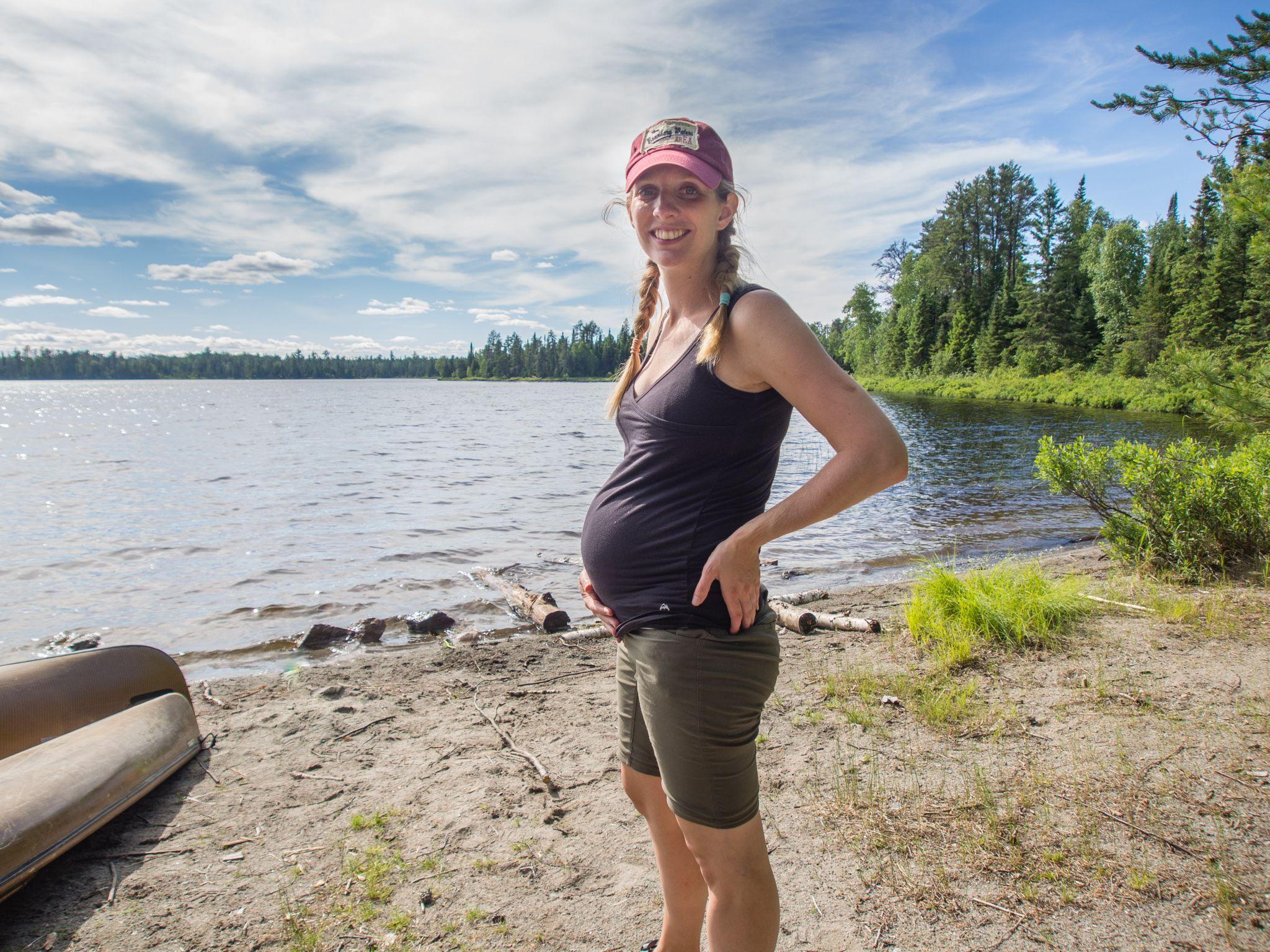 6 months pregnant in the Boundary Waters Canoe Area Wilderness
