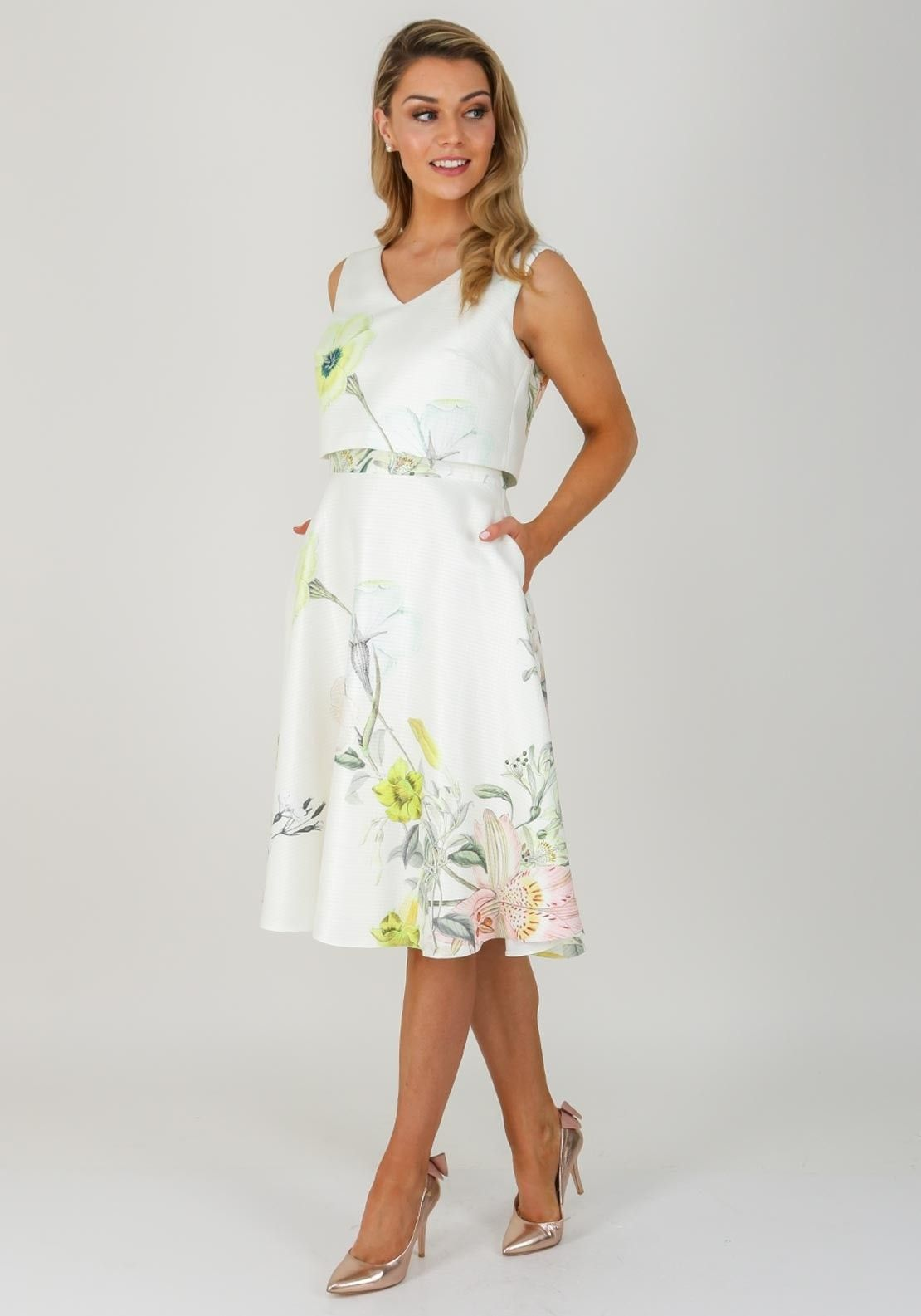 6fbf756696c5 Ella Boo Floral Overlay Flared Dress, Cream | Ella Boo SS18 ...