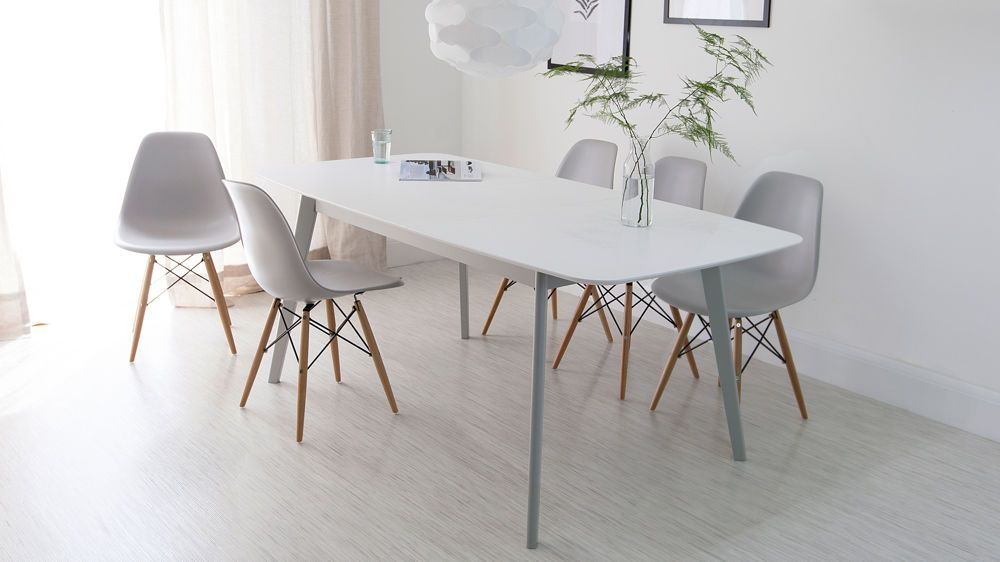 Aver Grey And White Extending Dining Table  Dining Modern And Cool White Kitchen Chairs 2018