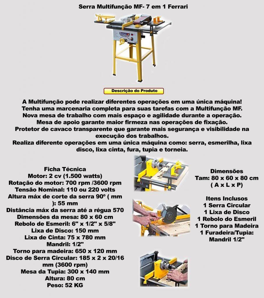 c2370c1492029 Bancada Multifunção 7x1 Ferrari Mf-7 - Serra, Corte, Lixa... - R ...