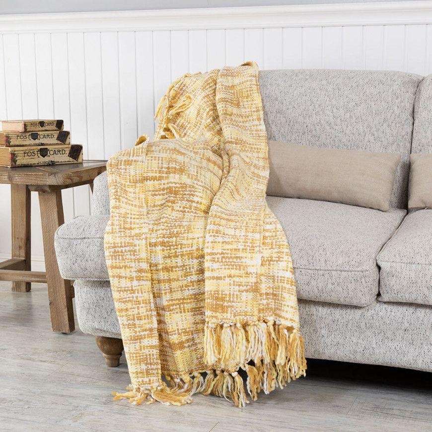 شال كنب لون أصفر و بيج Throw Blanket Blanket Sofa