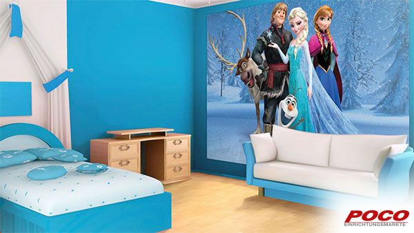 Funf Auf Einem Haufen Elsa Anna Olaf Kristoff Und Sven Ca 254 X 184 Cm Eiskonigin Fototapete Tapeten Kinder Zimmer