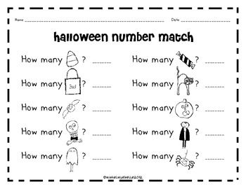 halloween number match one to one correspondence with numbers 1 10 halloween homeschool. Black Bedroom Furniture Sets. Home Design Ideas