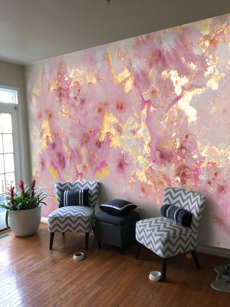 9f x 7ft ***Pink Purple Gold Marble*** Vinyl Wallpaper