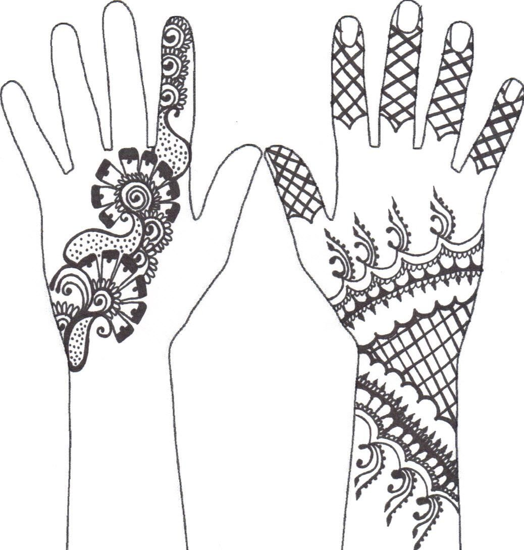 Mehndi Hand Outline : Check out more henna pictures at mehndiequalshenna