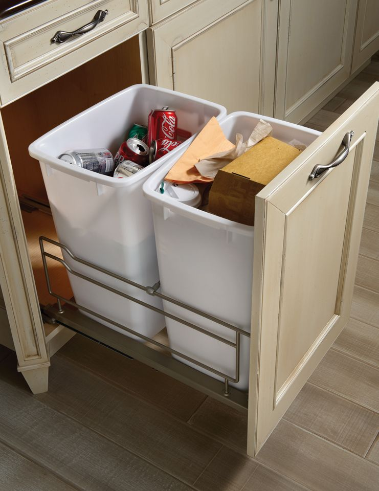 Brookhaven cabinet styles double waste basket cabinet for Brookhaven kitchen cabinets