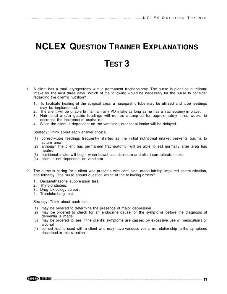 Kaplan nclex sample exam 3 by think rn via slideshare nclex rn kaplan nclex sample exam 3 by think rn via slideshare fandeluxe Choice Image