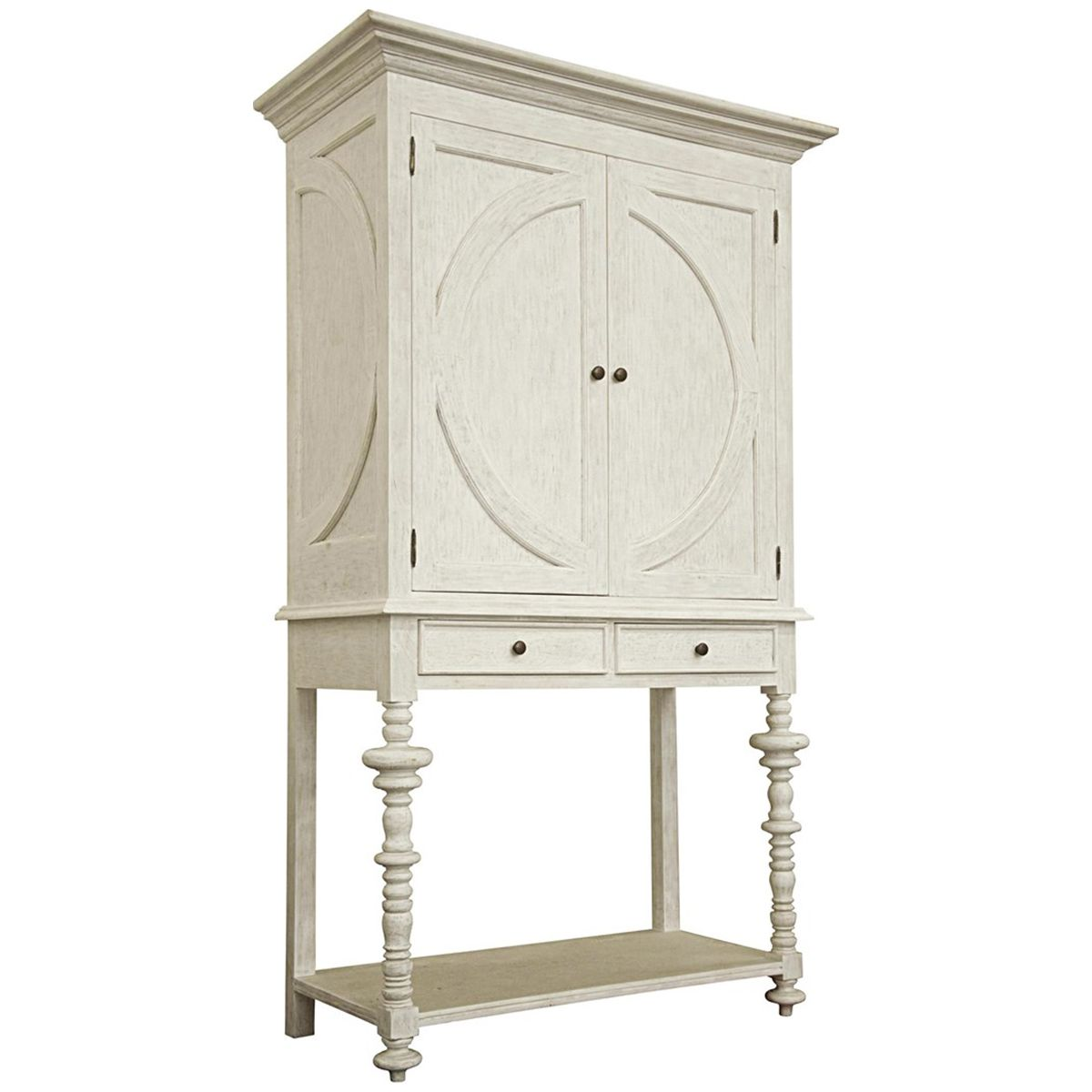 Noir Ferret Wine Cabinet, White Wash GARM118WH