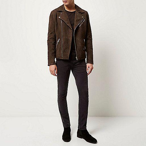 Dark brown premium suede biker jacket - jackets - coats / jackets - men