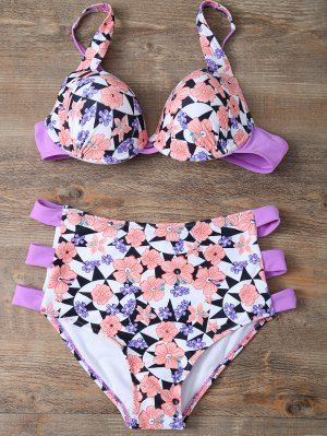 Cut Out Floral High Waisted Swimsuit - Pink