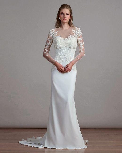 bfbe2f912fe9 Liancarlo Spring 2018 Wedding Dress Collection | Martha Stewart Weddings –  Style 6884, Alencon lace wedding dress on French tulle with a reverse bolero