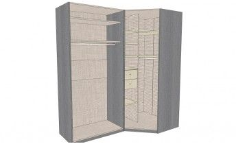 Dressing D Angle Solano L 200 X L 100 X H 220 X P 58 Cm Chene Grise Locker Storage Tall Cabinet Storage Storage