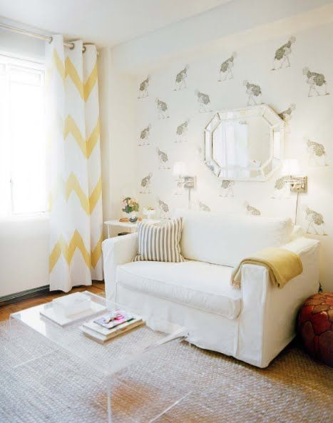 Love The Wide Chevron Drapes, Wallpaper And Use Of White Overall In The Room .