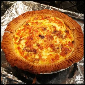 Crumbled cooked bacon and grated Swiss cheese come together with eggs and half and half to make for one. FINE. Quiche.