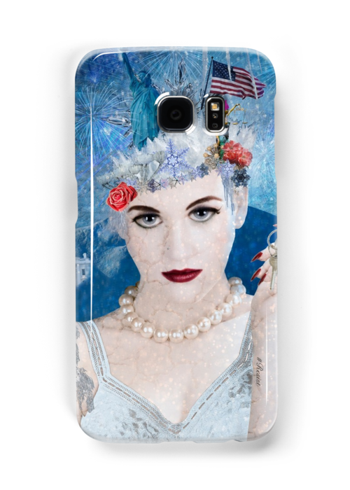 Samsung Galaxy cases - Winter has arrived! Snowflake is an anti-trump administration, political protest artwork. This very detailed design includes images of the US Constitution, Stature of Liberty, Lady Justice, a pink pussy hat, American flag, bang eagle, naked statue of Donald Trump along with famous government buildings in Washington DC, America's capitol, all enveloped by a blizzard.